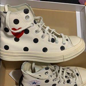 White/Black Polka Dot Comme Des Garçon Converse